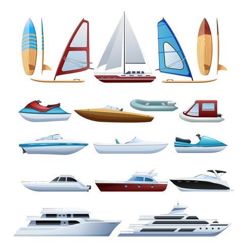 Conjunto de iconos planos barcos y windsurfista