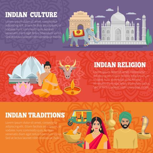 Conjunto de Banners horizontales de India vector