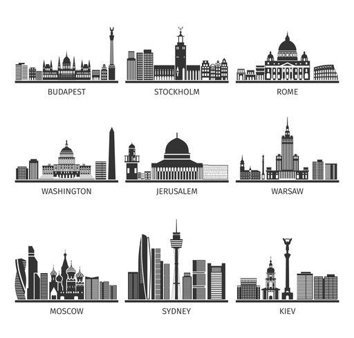 Set di icone nere di famosi paesaggi urbani