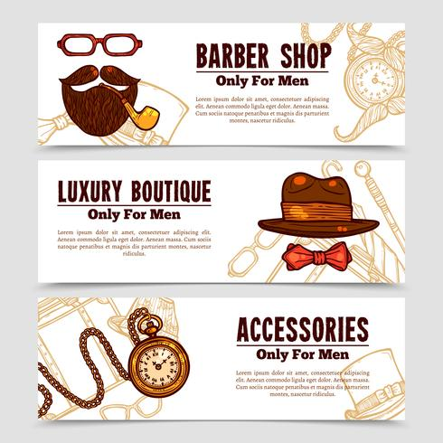 Gentleman Vintage Doodle 3 Bannners Set vector