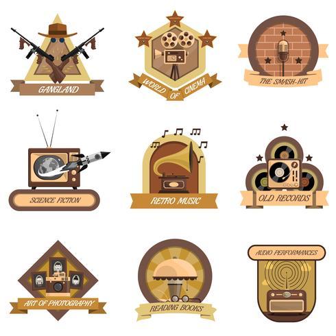 Conjunto de emblemas retrô
