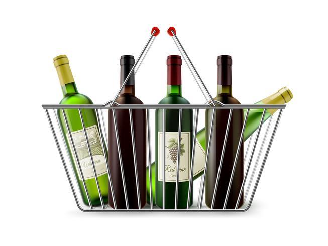 Cesta de compras metálica con pictograma de vino vector