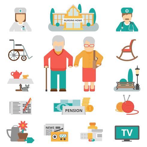 Conjunto de iconos planos de estilo de vida Senior vector