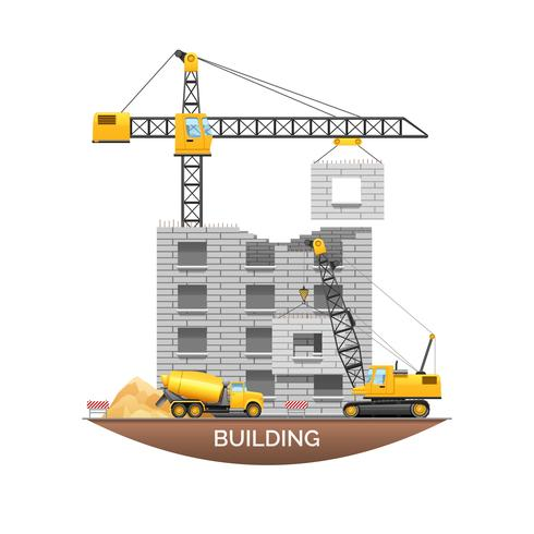 Building Construction Machinery Flat Illustration