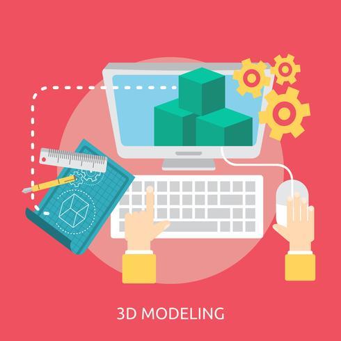 Modelado 3D Conceptual Ilustración Diseño vector