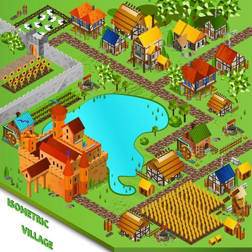 Mittelalterliche Dorf isometrische Illustration