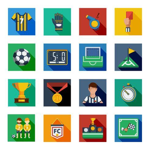 Set di icone piatto piatto di calcio