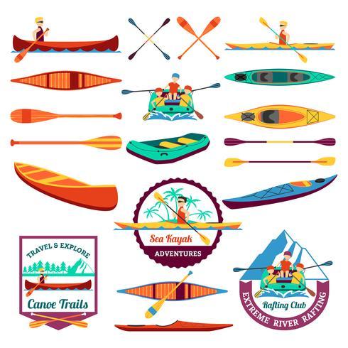 Rafting kanot och kajakelement vektor