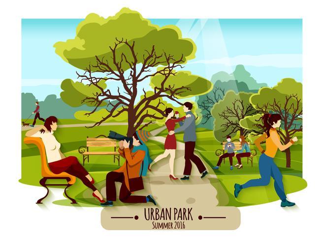 Poster da paisagem do jardim vetor