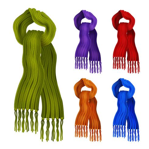 Knitted scarf color set