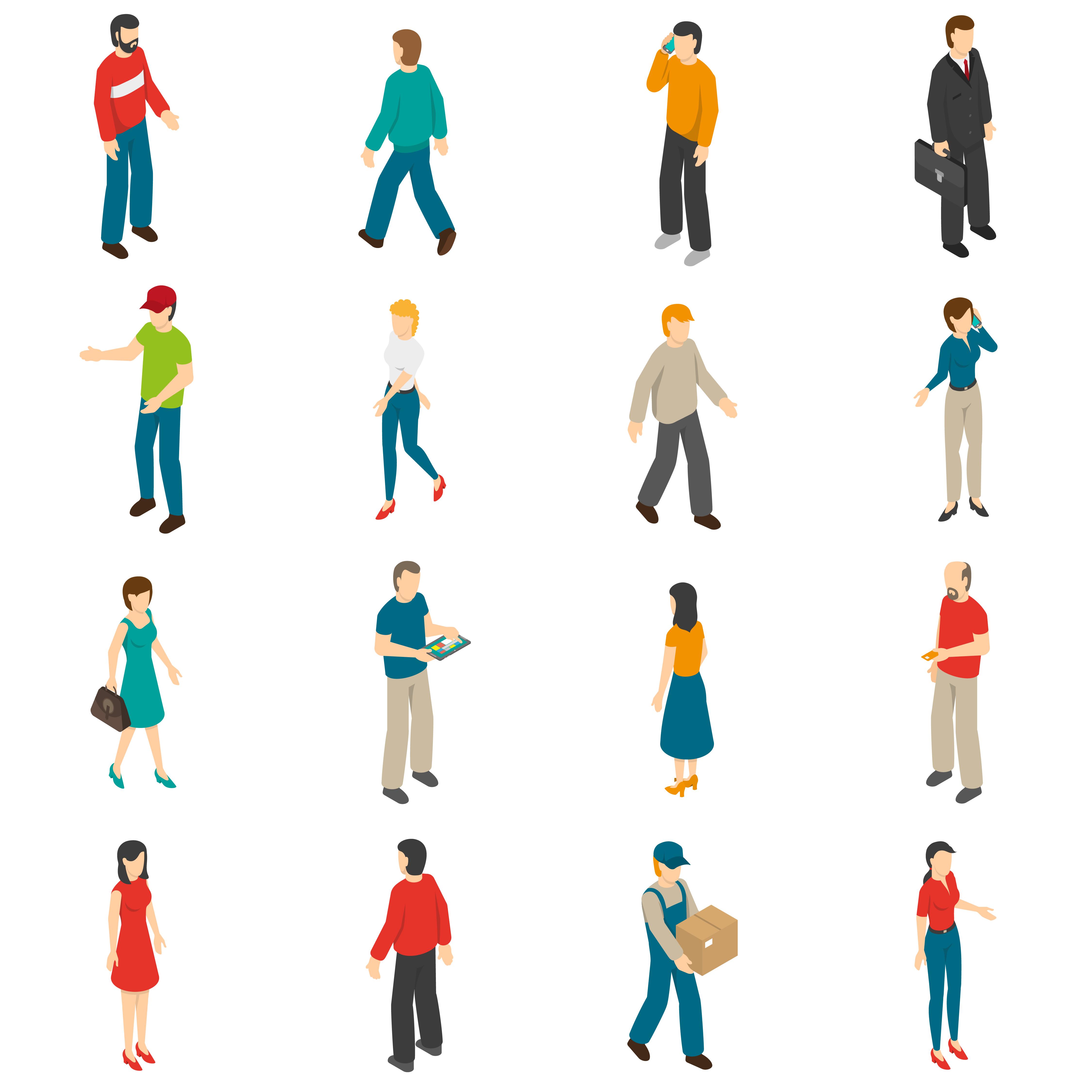 People Isometric Icons Set