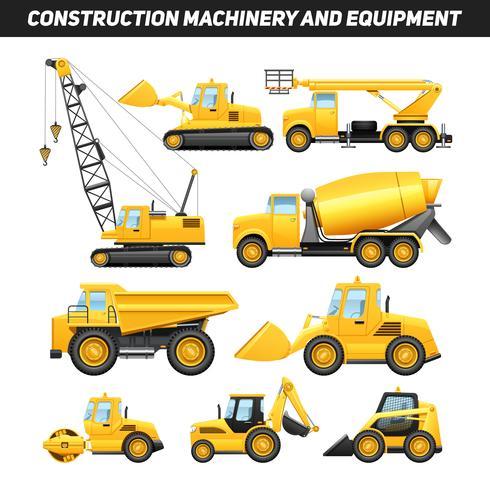 Conjunto de iconos planos de maquinaria de equipo de construcción