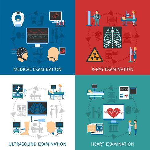 Medical Examination 4 Flat Icons Square  vector
