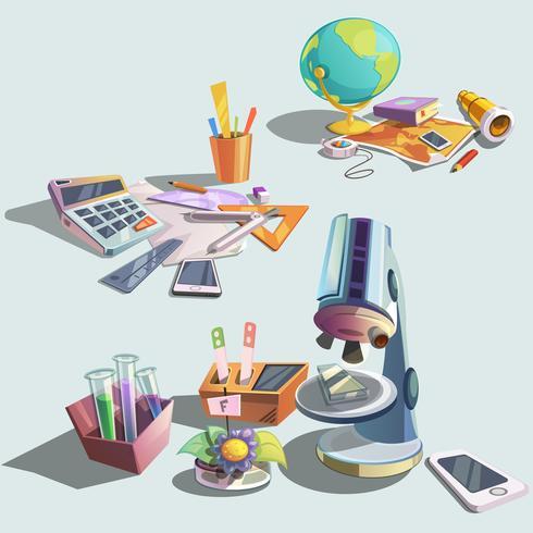 Conjunto de desenhos animados retrô de ciência