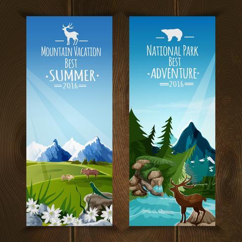 Conjunto de banners de paisaje vector