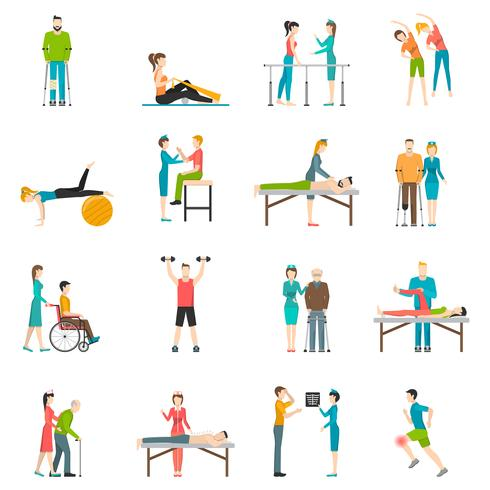 Fysiotherapie revalidatie pictogrammen van de kleur