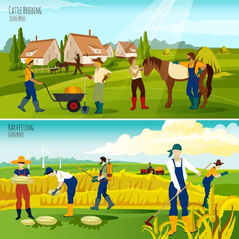Countryside Farming 2 Flat Banners Composition