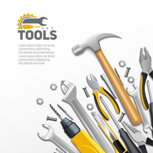 Poster di composizione piatto strumenti di carpentiere di costruzione