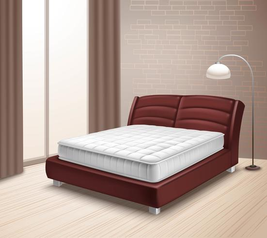 Cama de colchón en el interior de la casa vector