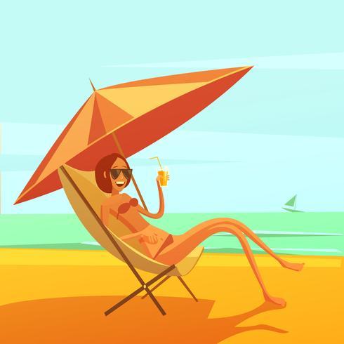 Ilustración de descanso en el mar