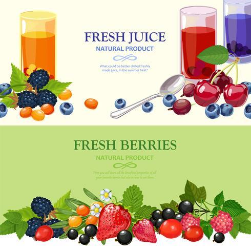 Fresh Berries 2 Flat Banners Set