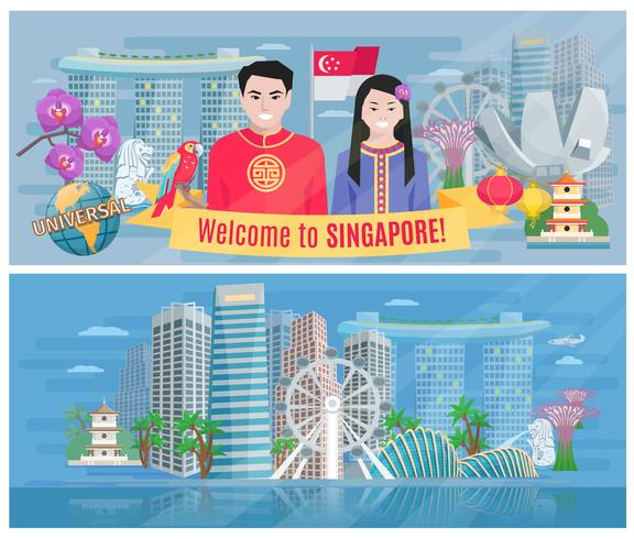 Singapur Kultur 2 flache horizontale Banner vektor