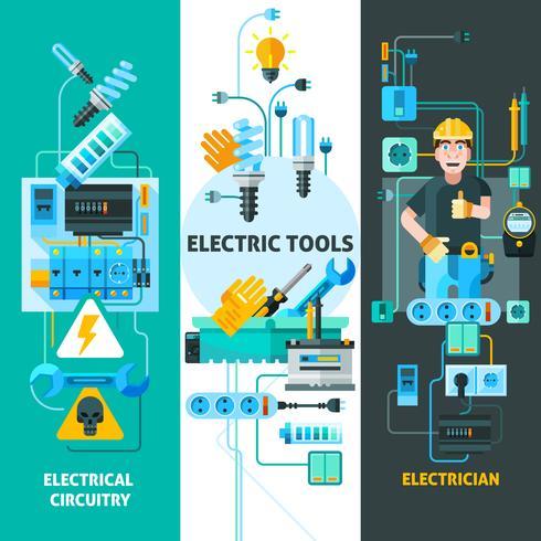 Conjunto de Banners de electricidad vector