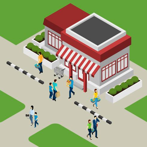 Illustrazione del negozio e dei clienti vettore