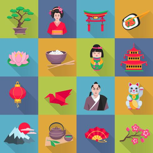 Set di icone piane simboli cultura giapponese vettore