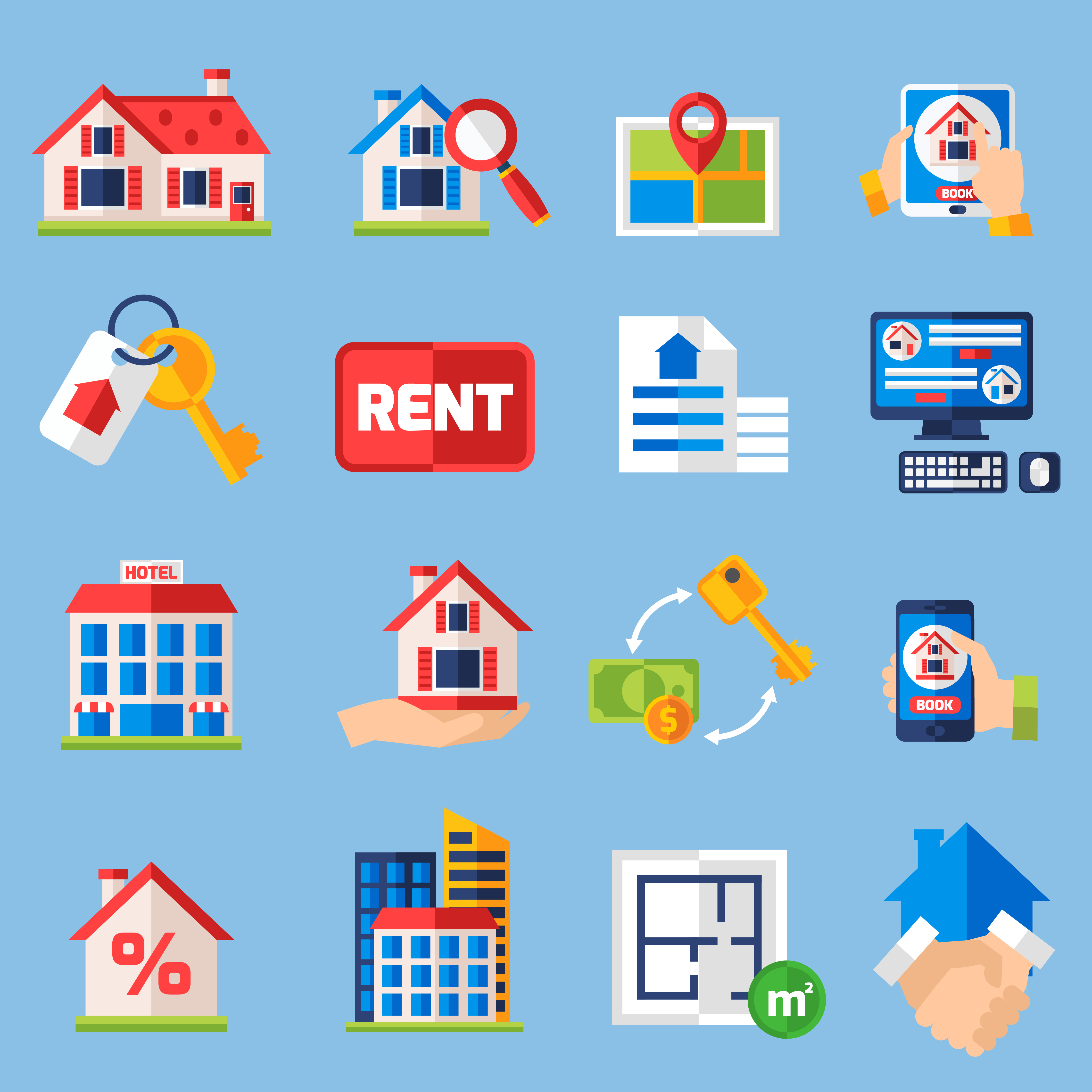 Free Rental Listings Online: Rent And Tenancy Icons Set