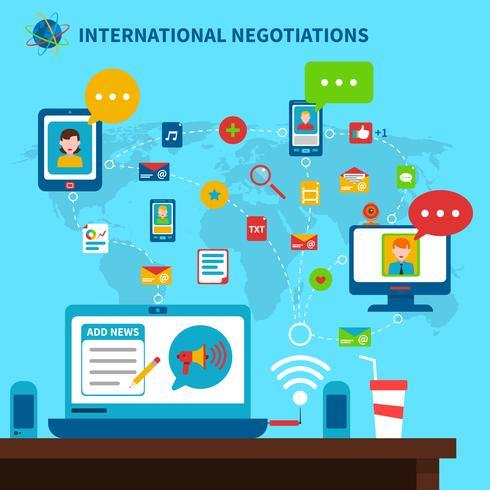 Internationella Förhandlingar Illustration vektor