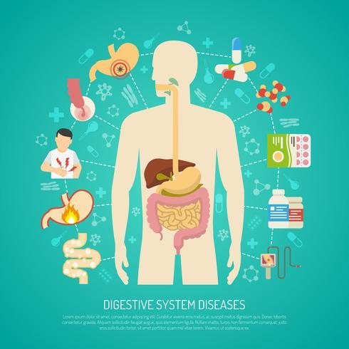 Illustration des maladies du système digestif vecteur