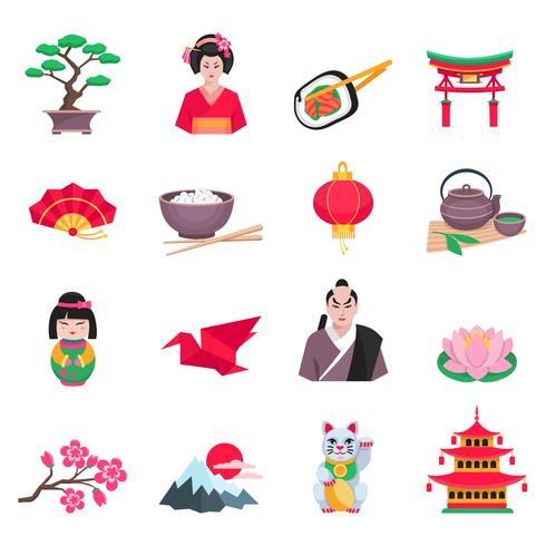 Set di icone piane simboli cultura giapponese