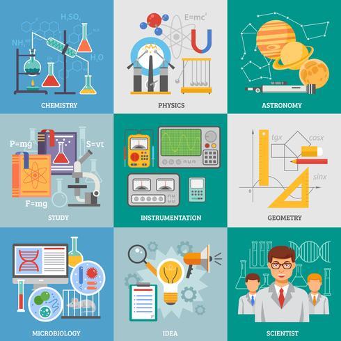 ricerca scientifica 9 icone piane quadrate