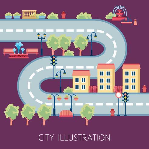 Resumen de plano de la calle de la ciudad Banner plano vector
