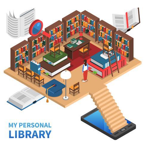 Ilustração do conceito de biblioteca pessoal