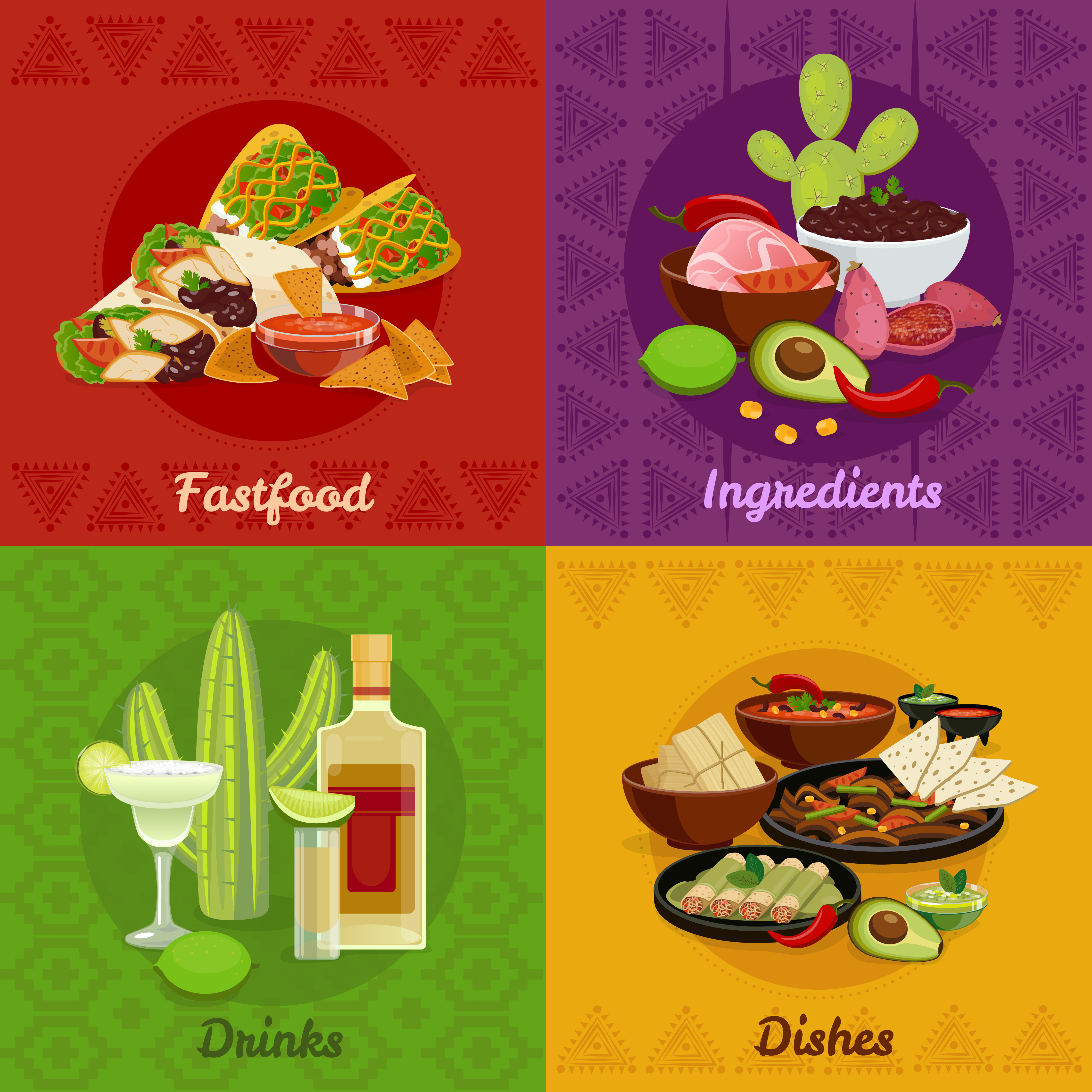 Flat Code Logo Collection: Mexican Foof 4 Flat Icons Banner 479563