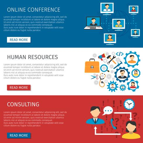 Human Resources Management Flat Banner Set