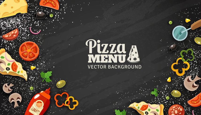 Pizza Menu fundo de quadro de giz vetor