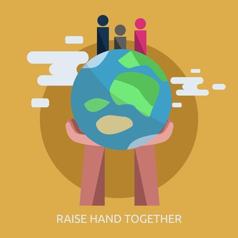 Levante a mão junto ilustração conceitual Design