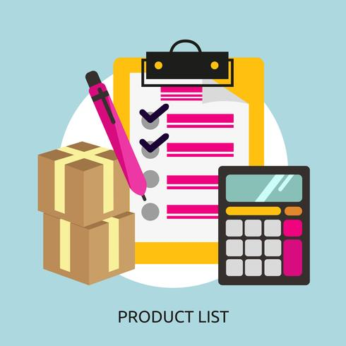 Disegno dell'illustrazione concettuale dell'elenco di prodotti vettore