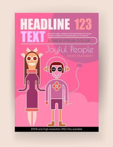 Pessoas felizes vector design de cartaz