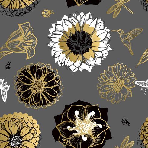 Seamless mönster blommor, fjärilar, kolibrier, mörk bakgrund. vektor