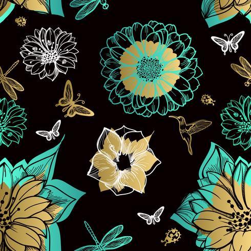 Naadloze patroonbloemen, vlinders, kolibries, zwarte achtergrond.
