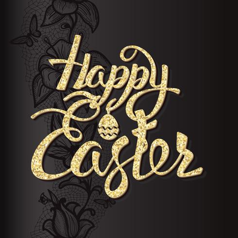 Happy Easter sign letters of gold texture, symbol, logo on a black background with pattern.