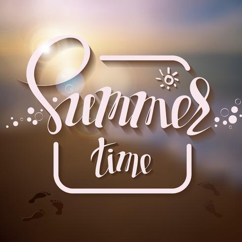 Hallo Sommerplakataufschrift auf einem Hintergrundmeerblickbild. vektor