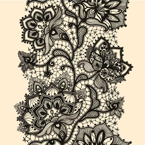 Abstrakt spetsband sömlöst mönster med elementblommor. Mallramdesign för kort. Lace Doily.