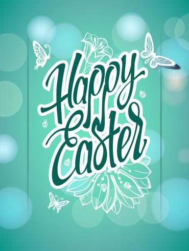 Happy Easter sign, symbol, logo on a  green background with the flowers.