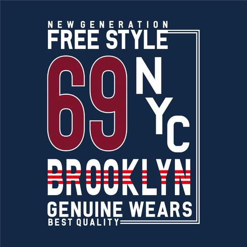 Freier Stil New York Brooklyn Typografie Design Tee