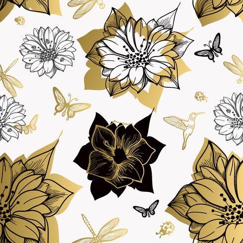 Modello senza cuciture fiori, farfalle, colibrì, sfondo bianco. vettore